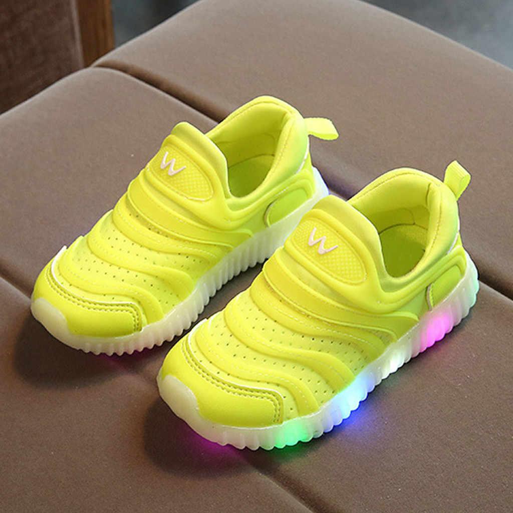 Tamaño 21-30 USB cargador niños Unisex zapato con suela Enfant Led luz brillante zapatillas luminosas para niñas zapatos niños Led zapatos