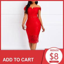 Женское коктейльное платье с открытыми плечами красное Элегантное