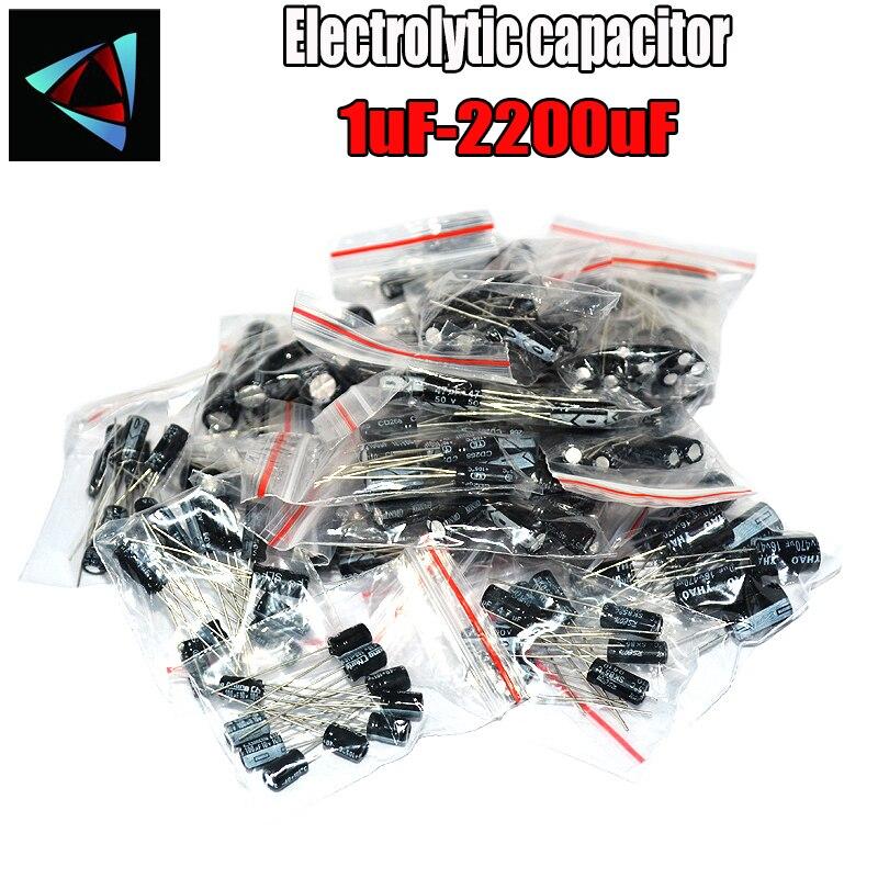 125pcs/lot 25value 1uF-2200uF Electrolytic Capacitor Kit 16V/25V/50V Electrolytic Capacitors Assortment Set 101000UF 470UF 100UF