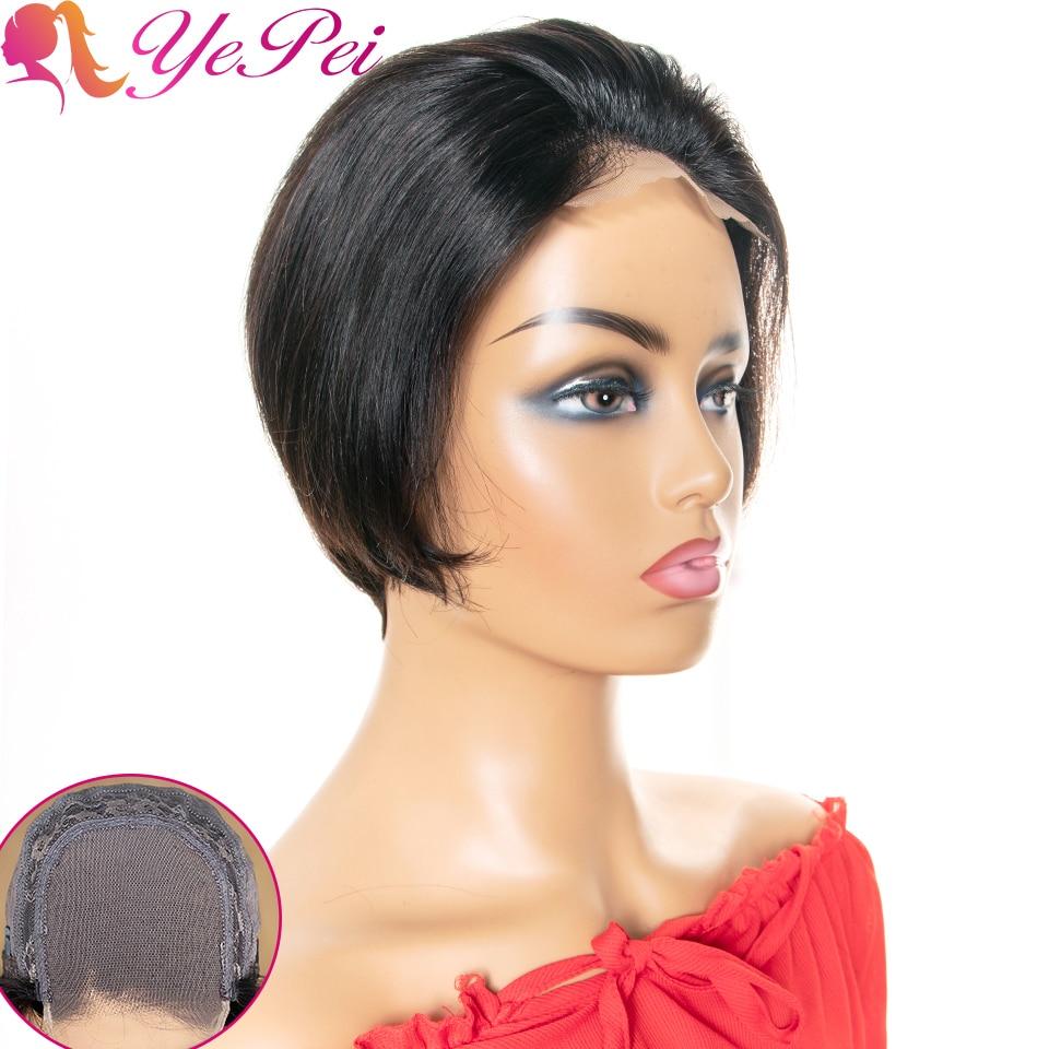Pixie Cut Wig 4x4 Bob Lace Closure Wig Brazilian Straight Human Hair Wigs 130% Density Remy Short Human Hair Wigs Yepei Hair