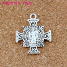 Quis Et Dues Saint Michael Cross Silver Medal Antique Charm Pendants 34X40.2mm Fashion DIY Jewelry 30pcs /lots A517