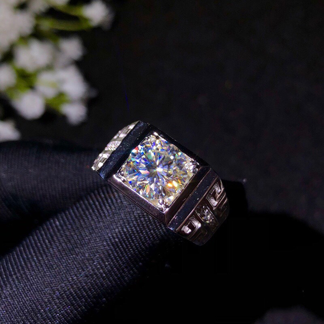 BOEYCJR 925 Silver 1ct/2ct/3ct F color Moissanite VVS  Engagement Wedding Diamond Ring for Men With national certificate