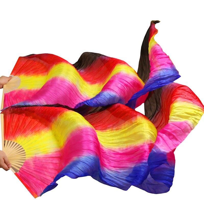 100% Real Silk/Imitation Silk Belly Dance Fan Belly Dance Veil 1 Pair Handmade Dyed Silk Dance Fan High Quality Silk Fans Veils