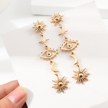 Vintage gold devil's eye earrings with 2020 personality sunflower earrings