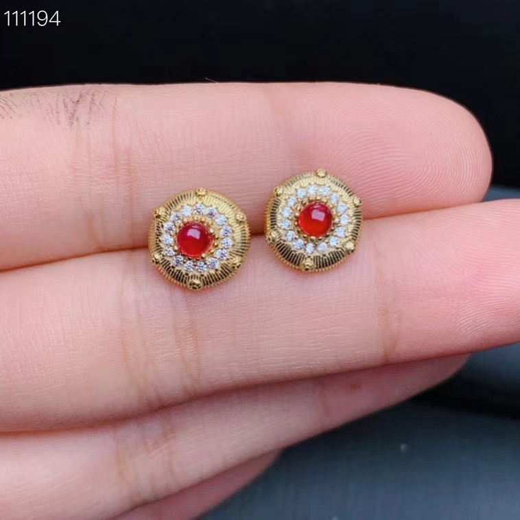 Natural ruby earrings  925 silver plated with gold. Certificate of beautiful color