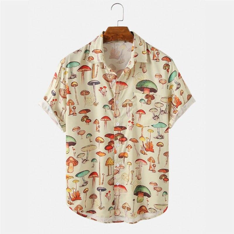 אופנה חוף הוואי חולצה גברים של מזדמן קריקטורה סגנון פטריות חוף קוקוס עץ מודפס קצר שרוול חולצה גברים של חולצה חולצות
