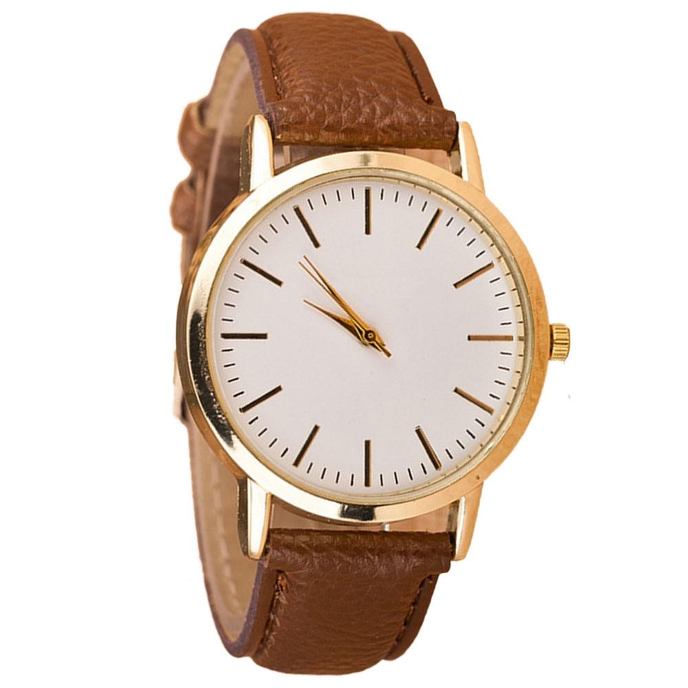 Изысканные женские классические часы, женские кварцевые часы в стиле ретро с кожаным ремешком, простые часы с большим циферблатом, женские ...