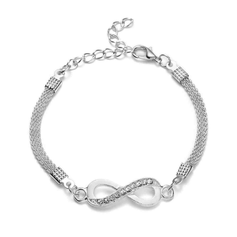 2020 Kualitas Tinggi Perak Gelang Kristal Berlian Imitasi Infinity Gelang Pria Wanita Perhiasan