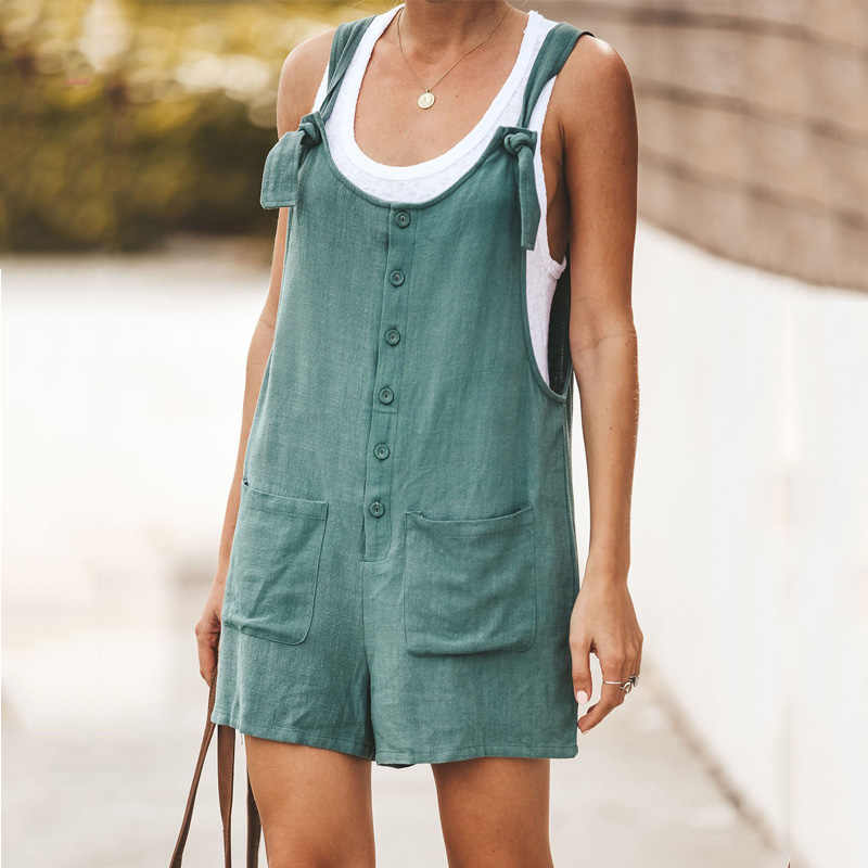 Katoen Linnen Vrouwen Rompertjes Button Pocket Dames Playsuits Sexy Backless Bandjes Tank Korte Jumpsuits Zomer Toevallige Losse Overalls