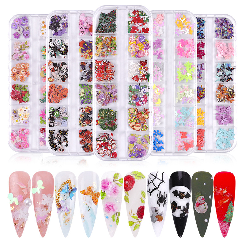 Nail Art Wood Pulp Butterfly Color Small Flowers Christmas Halloween Nail Art Ornament Set 3D Nail Art Decorations Designs