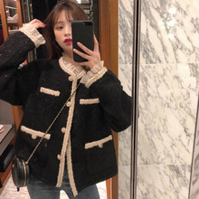 Coat Women Spring-Jacket Japan-Style Tweed Outerwear Lace Bright Autumn Casual EWQ Loose