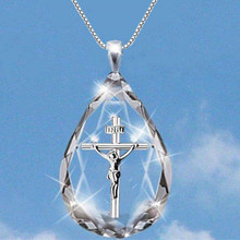 Jesus Christ Cross Pendant Necklaces Alloy Bead Long Chain Mens Women Virgin Mary Christian Fashion Jewelry Rosary Necklace