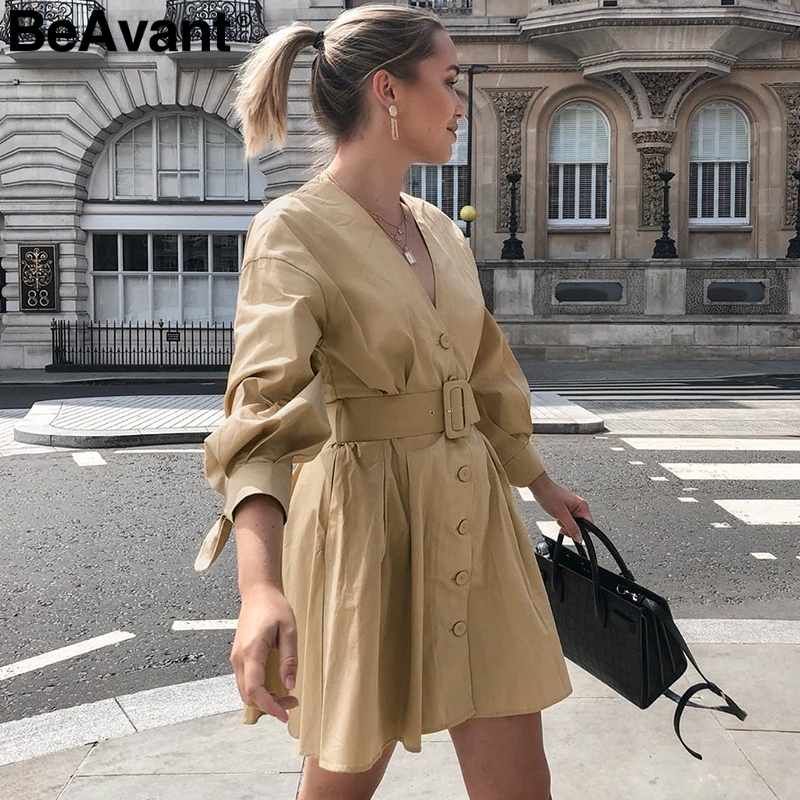 BeAvant Elegant High Waist Trech Coat A-line V-neck Single Breasted Women Dress Overcoat Solid Ladies Autumn Winter Long Coat