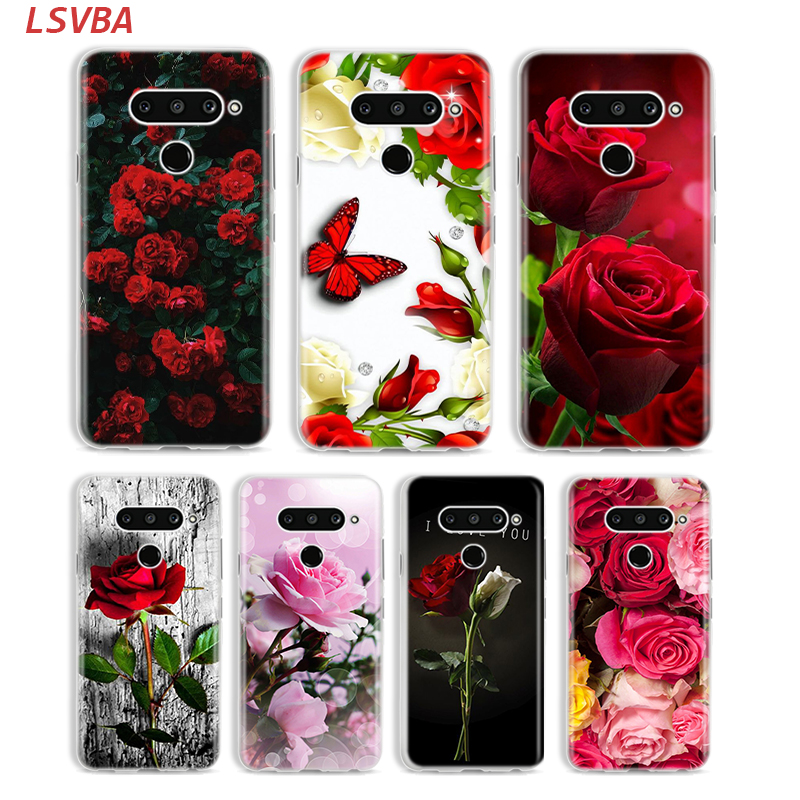 Red Roses Flower Cover for LG W20 W10 V50S V50 V40 V30 K50S K40S K30 K20 Q60 Q8 Q7 Q6 G8 G7 G6 ThinQ Phone Case