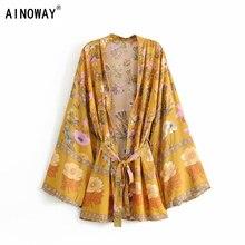 Vintage chic kadınlar çiçek baskı sashes yarasa kol plaj Bohemian kimono elbiseler bayanlar V boyun püskül yaz Boho elbise vestidos