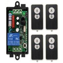 Ac 220 v 1 canal 1ch 10a rádio controlador rf relé sem fio interruptor de controle remoto 315 mhz 433 mhz transmissor + receptor