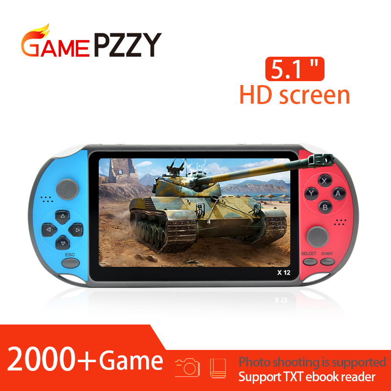 X12PLus handheld game console built-in more than 2000 games 5.1inch support 12 big simulator game progress save game download blue