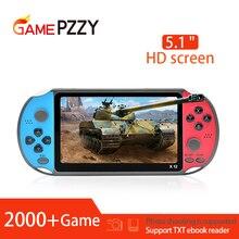 X12 5.1 polegadas console de videogame retrô, de mão, com dois rocker, consoles de jogos embutidos + 2000 jogos, suporte cartão tf