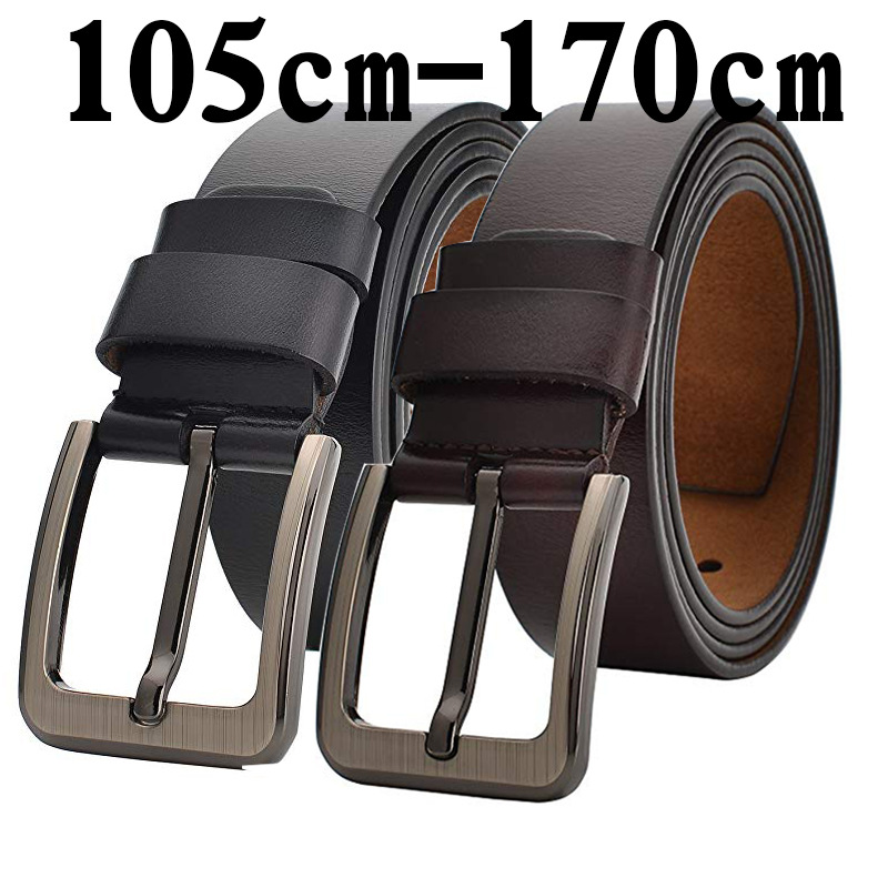 Real Genuine Leather Belt Men 140 150 160 170cm Large Size Luxury Designer Belts Men Cow Cowskin Leather High Quality Waist Belt