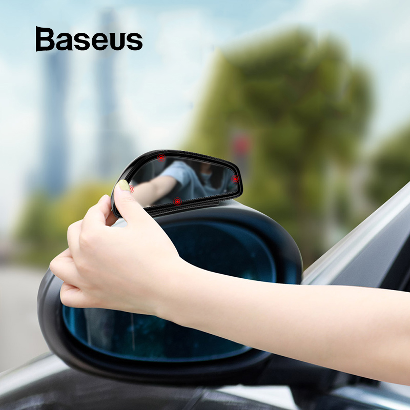 Baseus 1 Pair Car Blind Spot Mirror Car Rearview Auxiliary Mirror HD Large View Convex Glass Wide Angle Rear View Mirror