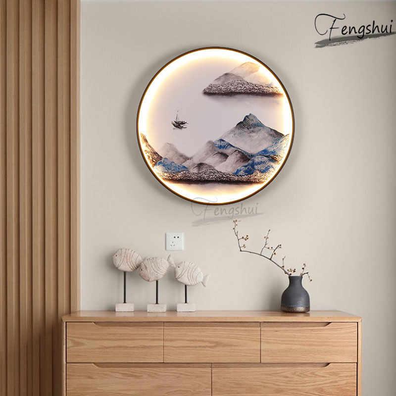 رسمة حبر صيني وحدة إضاءة LED جداريّة مصباح الإضاءة الحديثة الحديثة الفن الديكور أضواء الجدار غرفة المعيشة الممر حائط الخلفية مصابيح
