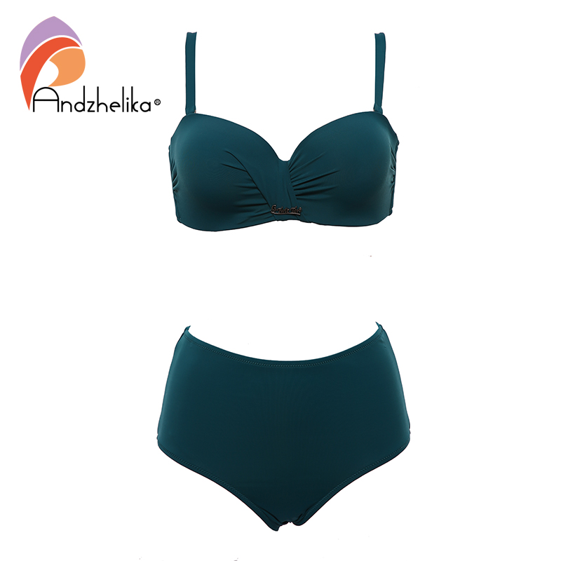 Image 5 - Andzhelika Sexy Bandeau Bikini Set Swimsuit Solid Push Up High waist Bikinis Two piece Beach Bathing Suit plus Size SwimwearBikini Set   -