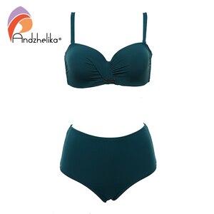 Image 5 - Andzhelika Sexy Bandeau Bikini Set Swimsuit Solid Push Up High waist Bikinis Two piece Beach Bathing Suit plus Size Swimwear