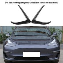 2Pcs Auto Front Foglight Eyebrow Eyelids Cover Trim Front Bumper Fog light Trim Fit For Tesla Model 3 Car Accessories