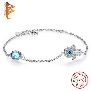 Hurtownie 5 sztuk srebro bransoletka oko oko niebieski emalia bransoletka dla kobiet lśnienie AAA Cubic cyrkon kryształ biżuteria