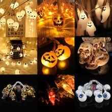 Cadena de luces Halloween LED murciélago calabaza luces de fantasmas Garland para Halloween casa de vacaciones y decoración al aire libre de 1,5 m luces parpadeantes