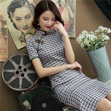 Китайское традиционное платье с воротником-стойкой, элегантное платье из хлопка и льна, повседневное клетчатое Чонсам с коротким рукавом, Ципао