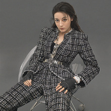 Star with Tweed Small Breeze Suit 2019 New Plaid Jacket Woman Notched Double Breasted Black Jackets Coat Women