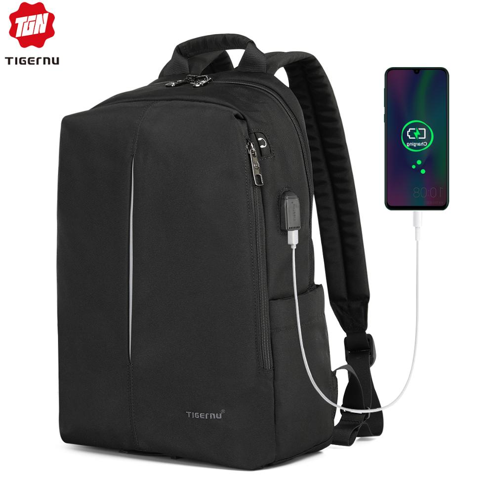 Tigernu Fashion ANTI FOULING Laptop Backpack Casual With USB Charging Light Weight Women Backpack Bag Mochila Men Student