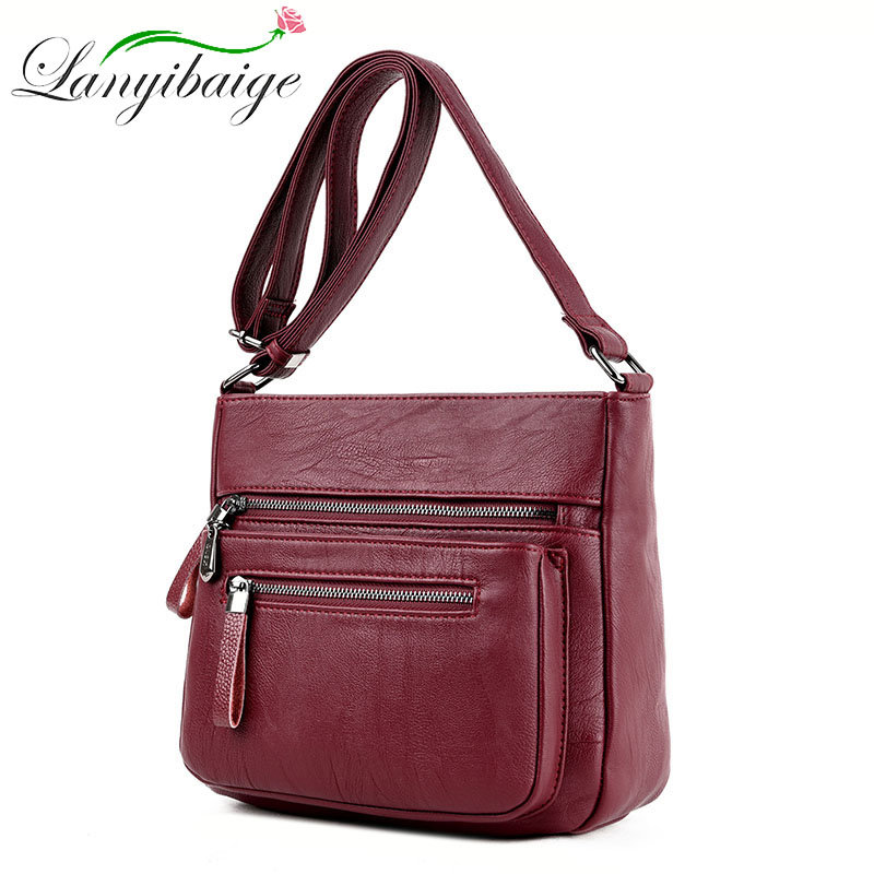 Women's Designer Luxury Handbag 2020 Fashion High quality Soft Leather bags Women Handbags Multi-pocket Shoulder Messenger Bag