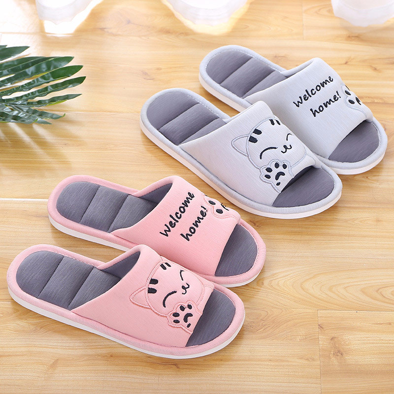 Women Soft Home Flat Cat Slippers Warm Cotton Warm Woman Fashion House Shoes Floor Comfort Female Couple Style Indoor