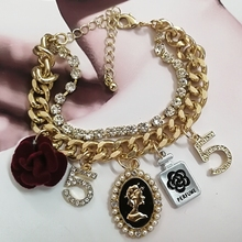 Mimiyagu korean design style crystal five cc bracelet for women pearl flower jewelry