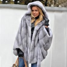 TOPFUR 2019 New Fashion Light Grey Mink Coat With Full Fur Hood Batwing Sleeve Winter Natural Women Large Size 70*60cm