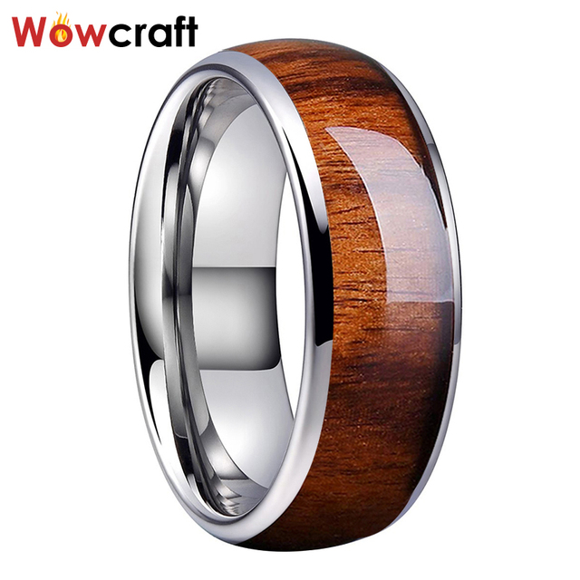 8mm Koa Nature Wood Inlay Tungsten Carbide Ring for Men Wedding Band Polished Shiny Comfort Fit