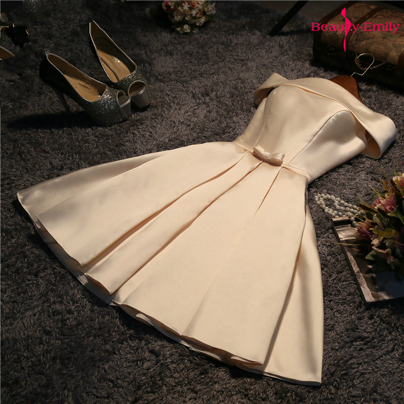 Beauty-Emily Off The Shoulder 2019 Bow Short Bridesmaid Dresses Satin Party Dress For Wedding Guests Sleeveless Lace Up Dress