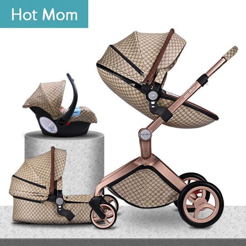 €146.35 36% de DESCUENTO|Carrito de bebé 3 en 1 de lujo con paisaje alto a la moda Hot Mom 2020 original para recién nacido|Cochecito de cuatro ruedas| | - AliExpress