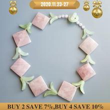 LiiJi collier quartz Rose Unique, feuilles de Jades, avec fermoir à bascule, 49cm/20 , nouveauté