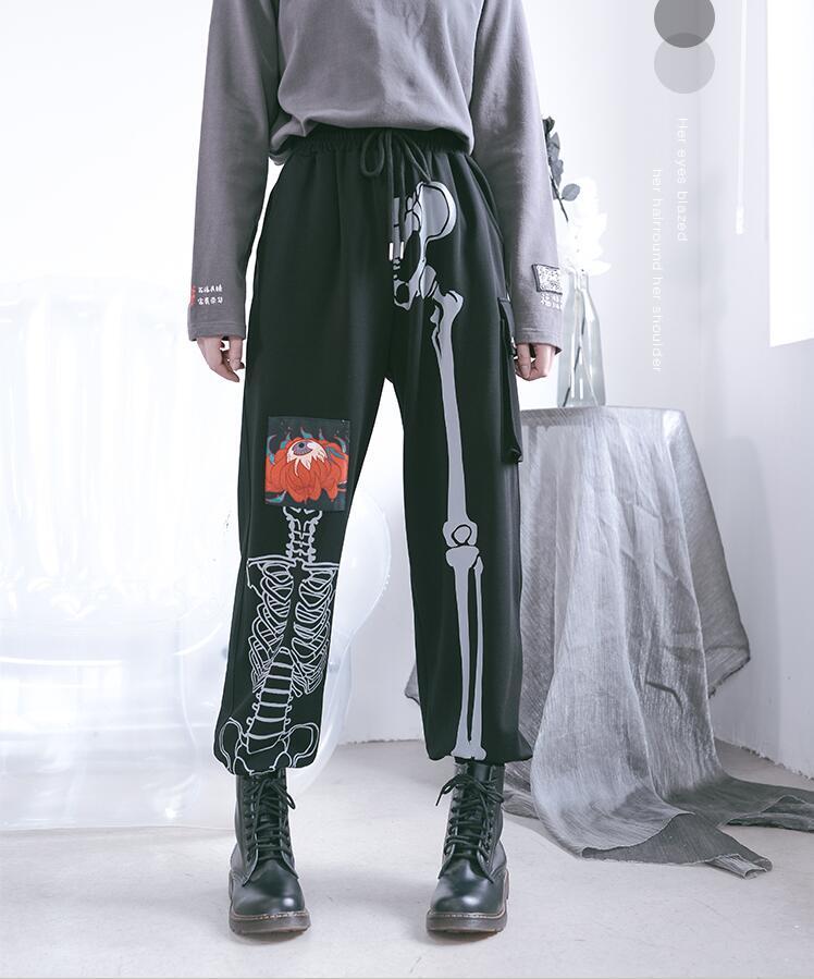 Брюки женские с принтом костей, уличная одежда в стиле Харадзюку, повседневные свободные модные штаны с завышенной талией, в стиле хип-хоп, в...
