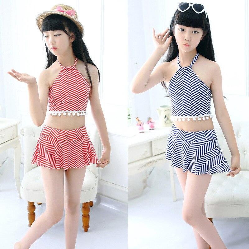 KID'S Swimwear Korean-style Girls Small Children Little Girl Cute Halter Split Skirt-Swimwear Wholesale 8-12-Year-Old