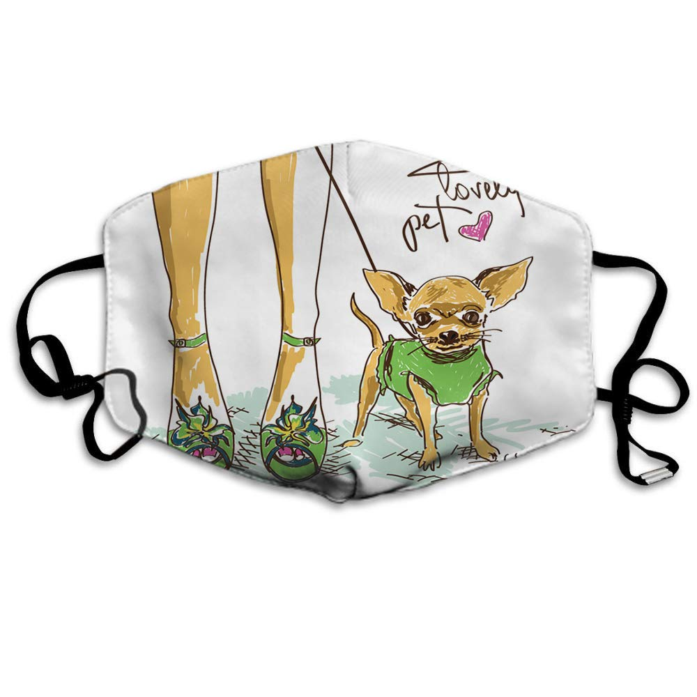 Swono Mask Girl And Dog,Funny Legs Of Girl In Fashion Shoes And Little Cute Chihuahua Polyester Anti Dust Face Mask-Washable And