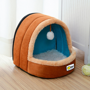 Cute Cat Bed Indoor Kitten House Warm Small For Cats Dogs Nest Foldable Cat Cave Sleeping Plush Mats Soft Cat House image