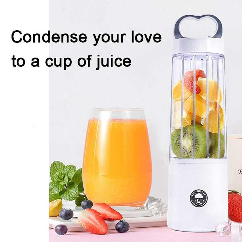Liquidificador portátil de vidro pessoal para agitação e smoothie, copo recarregável do juicer de usb, pequeno multifuncional, único saque