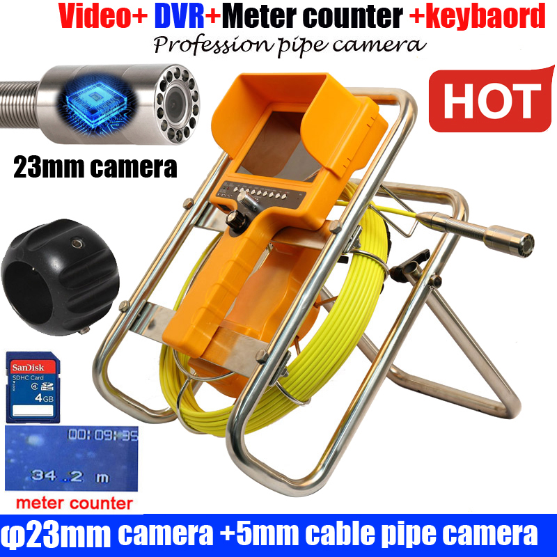 23mm camera dvr meter counter Borehole Sewer Pipe Inspection Camera System Water Pipe Well Monitoring System With 30m Cable
