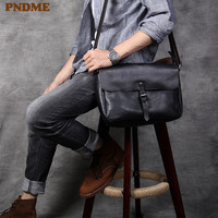 PNDME casual trend luxury genuine leather men's shoulder messenger bags outdoor fashion high quality cowhide youth work bag