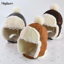 Hepburn brand Thicken Ushanka Winter Unisex Warm Bomber Hat For Boy/Girl Russian ear cap fur necessary Cap child Kids