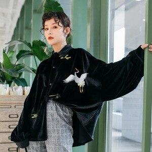Image 5 - LANMREM Solid Color haftowane żuraw z długim rękawem Lapel Suede luźne Plus koszula damska słodkie proste moda 2020 wiosna NewTV551